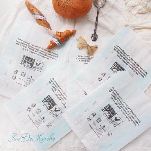 マルシェ袋 フランス 海外市場の紙袋(La gourmandise・Light blue)5枚セット【画像5】