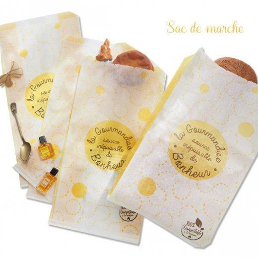 マルシェ袋 フランス 海外市場の紙袋(La gourmandise・yellow)5枚セット