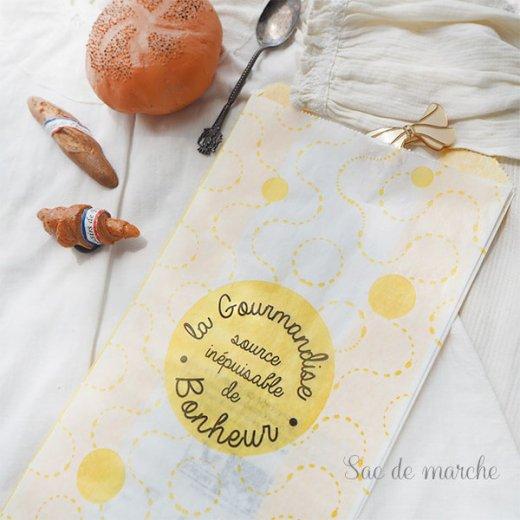 マルシェ袋 フランス 海外市場の紙袋(La gourmandise・yellow)5枚セット【画像2】