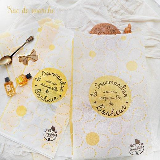 マルシェ袋 フランス 海外市場の紙袋(La gourmandise・yellow)5枚セット【画像3】