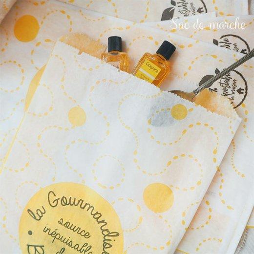 マルシェ袋 フランス 海外市場の紙袋(La gourmandise・yellow)5枚セット【画像4】