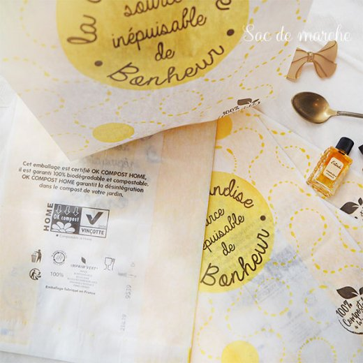 マルシェ袋 フランス 海外市場の紙袋(La gourmandise・yellow)5枚セット【画像5】