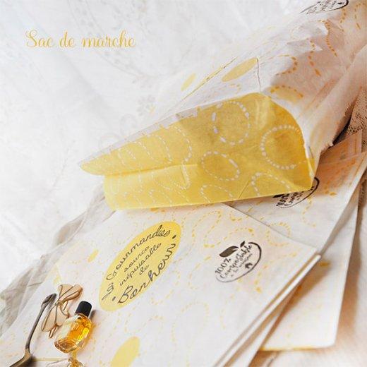 マルシェ袋 フランス 海外市場の紙袋(La gourmandise・yellow)5枚セット【画像9】