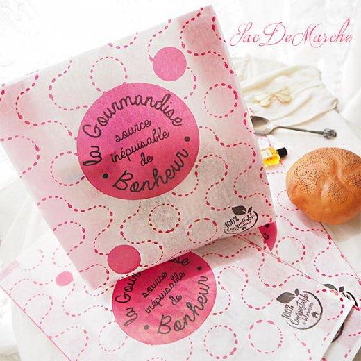 マルシェ袋 フランス 海外市場の紙袋(La gourmandise・pink A)5枚セット【画像2】