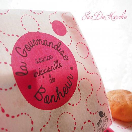マルシェ袋 フランス 海外市場の紙袋(La gourmandise・pink A)5枚セット【画像3】