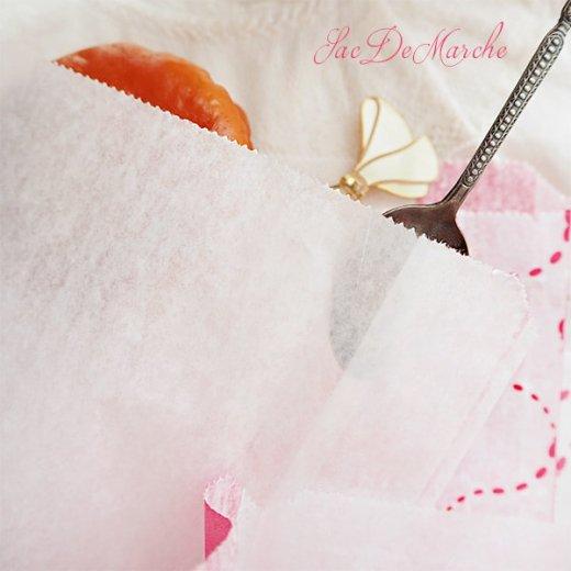 マルシェ袋 フランス 海外市場の紙袋(La gourmandise・pink A)5枚セット【画像4】