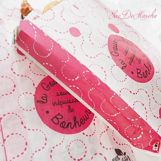 マルシェ袋 フランス 海外市場の紙袋(La gourmandise・pink A)5枚セット【画像5】
