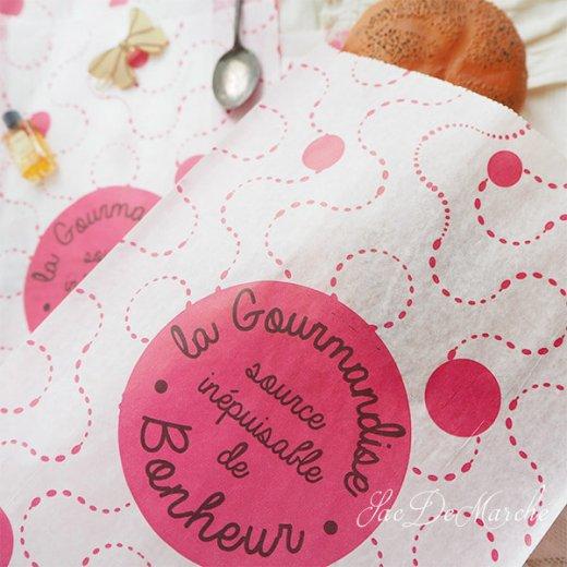 マルシェ袋 フランス 海外市場の紙袋(La gourmandise・pink A)5枚セット【画像7】