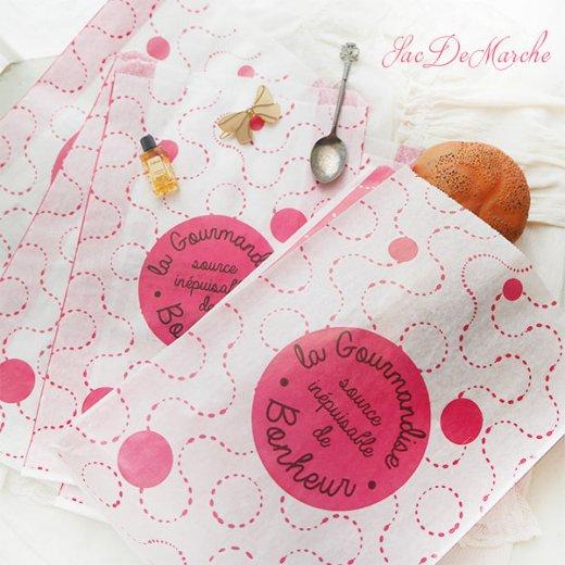 マルシェ袋 フランス 海外市場の紙袋(La gourmandise・pink A)5枚セット【画像8】