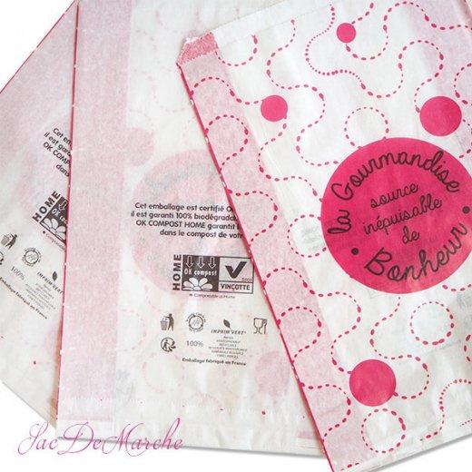 マルシェ袋 フランス 海外市場の紙袋(La gourmandise・pink A)5枚セット【画像9】