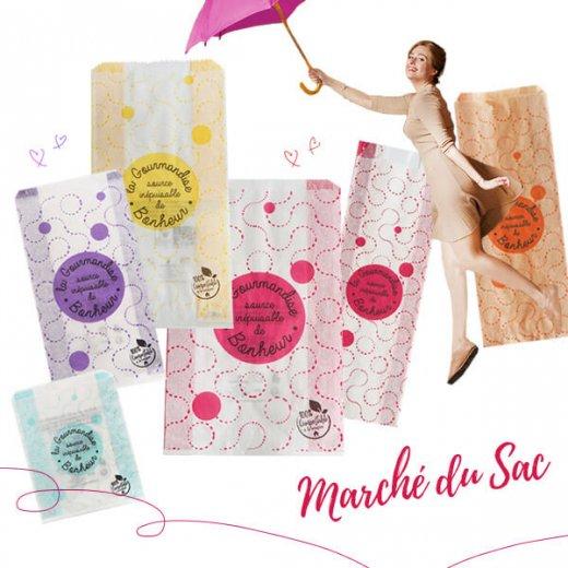 マルシェ袋 フランス 海外市場の紙袋(La gourmandise・pink A)5枚セット【画像10】