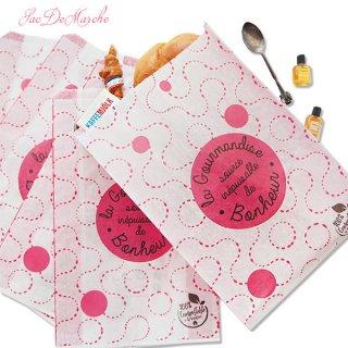 マルシェ袋 フランス 海外市場の紙袋(La gourmandise・pink A)5枚セット
