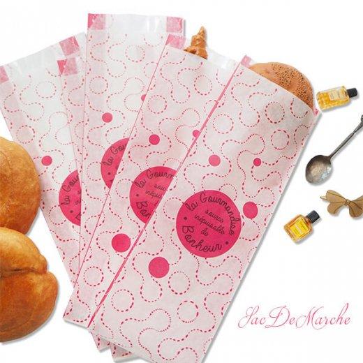 マルシェ袋 フランス 海外市場の紙袋(La gourmandise・pink B)5枚セット