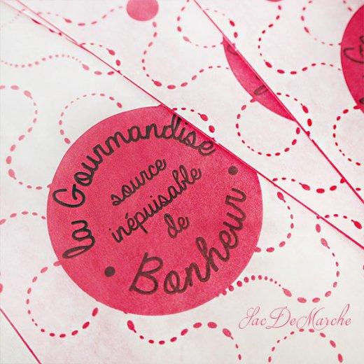 マルシェ袋 フランス 海外市場の紙袋(La gourmandise・pink B)5枚セット【画像2】