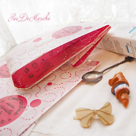 マルシェ袋 フランス 海外市場の紙袋(La gourmandise・pink B)5枚セット【画像3】