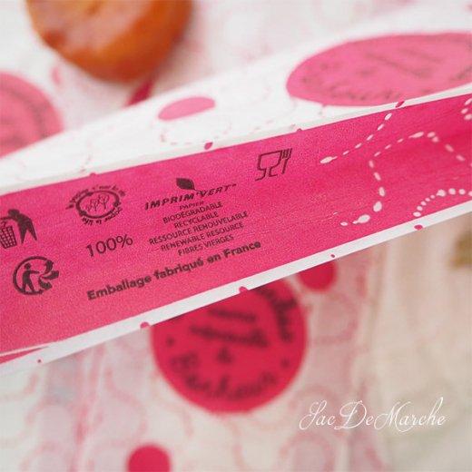 マルシェ袋 フランス 海外市場の紙袋(La gourmandise・pink B)5枚セット【画像4】
