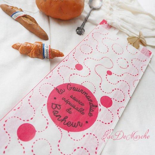 マルシェ袋 フランス 海外市場の紙袋(La gourmandise・pink B)5枚セット【画像5】