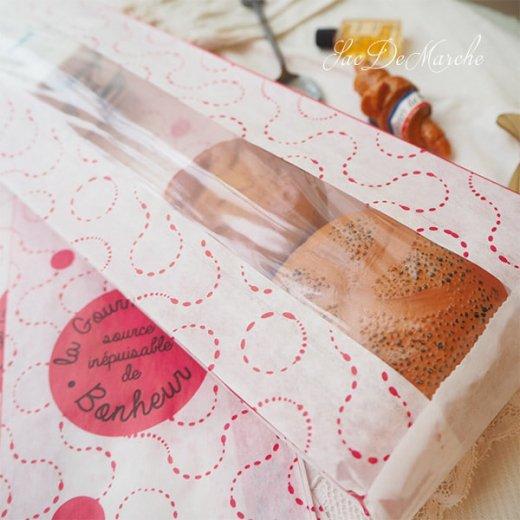 マルシェ袋 フランス 海外市場の紙袋(La gourmandise・pink B)5枚セット【画像6】