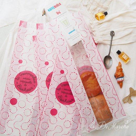 マルシェ袋 フランス 海外市場の紙袋(La gourmandise・pink B)5枚セット【画像7】