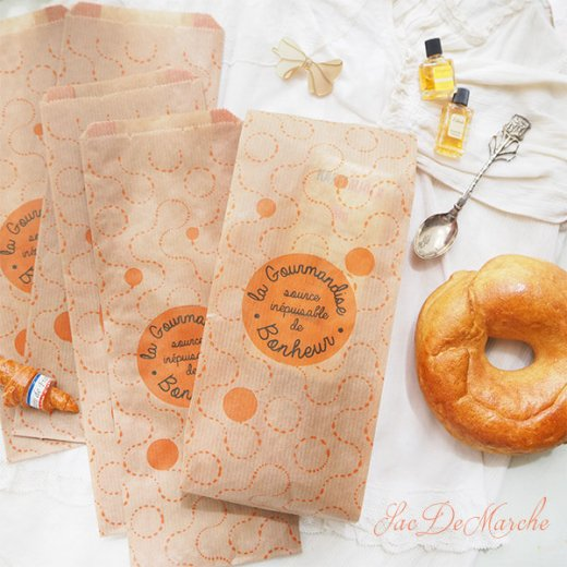 マルシェ袋 フランス 海外市場の紙袋(La gourmandise・Craft)5枚セット【画像9】