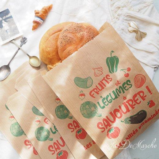 マルシェ袋 フランス 海外市場の紙袋(Fruits et legumes)5枚セット【画像6】