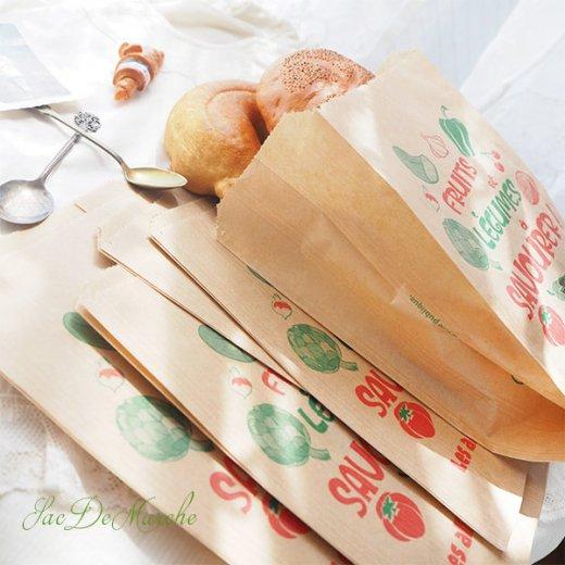 マルシェ袋 フランス 海外市場の紙袋(Fruits et legumes)5枚セット【画像7】