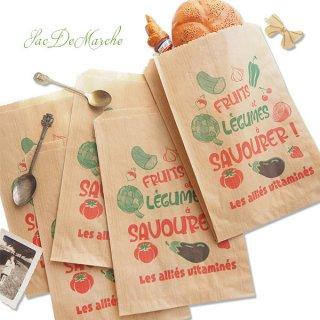 マルシェ袋 フランス 海外市場の紙袋(Fruits et legumes)5枚セット