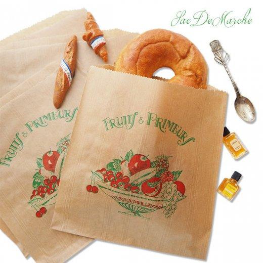 マルシェ袋 フランス 海外市場の紙袋(Fruits & Primeurs)5枚セット