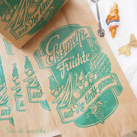 マルシェ袋 ドイツ 海外市場の紙袋(フルーツC)5枚セット【画像4】