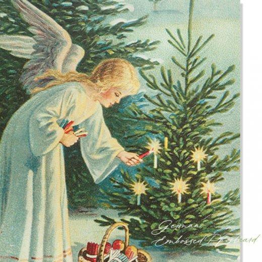 ドイツ直輸入! 【大判】クリスマス ポストカード エンボス加工 復刻 (天使 クリスマスツリー キャンドル)【画像2】