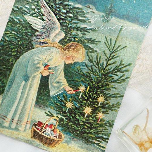 ドイツ直輸入! 【大判】クリスマス ポストカード エンボス加工 復刻 (天使 クリスマスツリー キャンドル)【画像5】