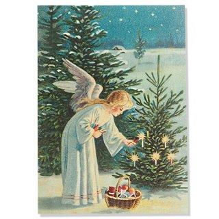 ドイツ直輸入! 【大判】クリスマス ポストカード エンボス加工 復刻 (天使 クリスマスツリー キャンドル)