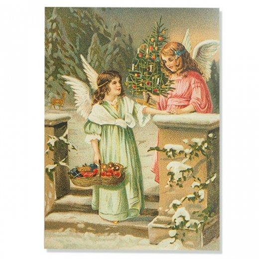 ドイツ直輸入! 【大判】クリスマス ポストカード エンボス加工 復刻 (天使  クリスマスツリー バスケット)