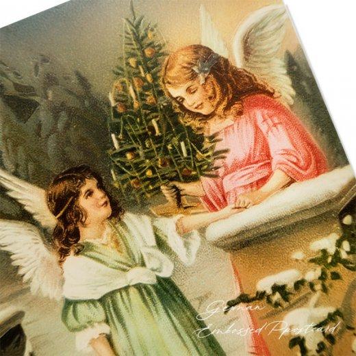 ドイツ直輸入! 【大判】クリスマス ポストカード エンボス加工 復刻 (天使  クリスマスツリー バスケット)【画像2】