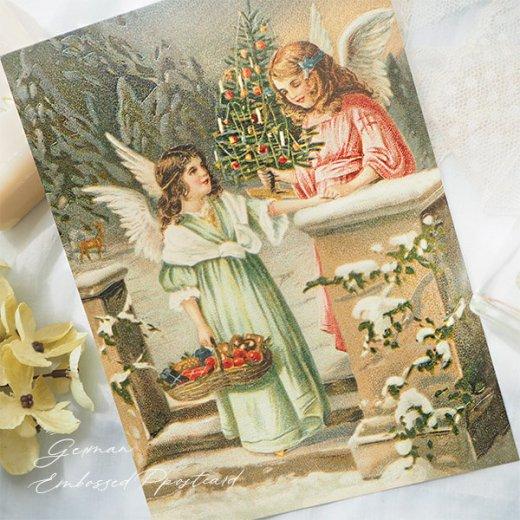 ドイツ直輸入! 【大判】クリスマス ポストカード エンボス加工 復刻 (天使  クリスマスツリー バスケット)【画像4】