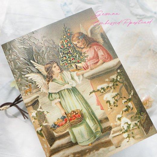 ドイツ直輸入! 【大判】クリスマス ポストカード エンボス加工 復刻 (天使  クリスマスツリー バスケット)【画像7】