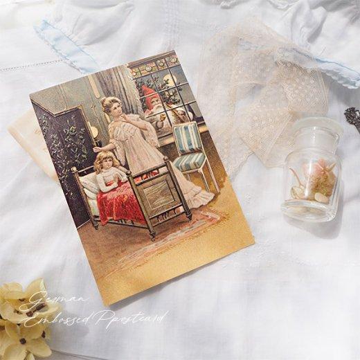ドイツ直輸入! 【大判】クリスマス ポストカード エンボス加工 復刻 (サンタ  クリスマスツリー 少女)【画像7】