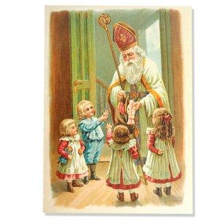 ドイツ直輸入! 【大判】クリスマス ポストカード エンボス加工 復刻 (サンタクロース 聖ニコラウス 少女 おもちゃ)