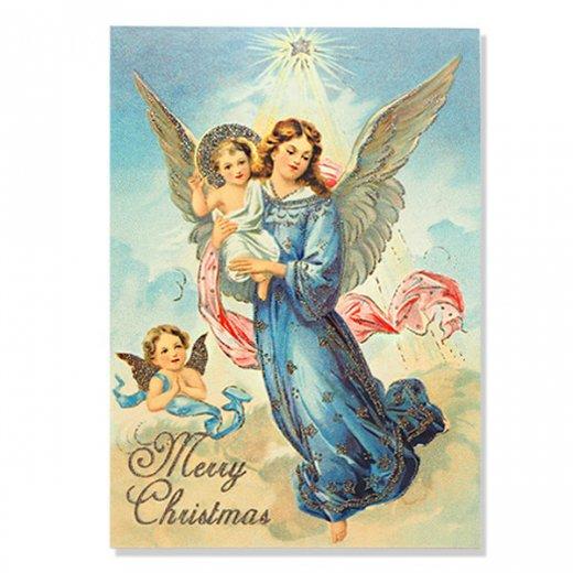 ドイツ【ラメ付き】クリスマス ポストカード  (天使 Merry Christmas)