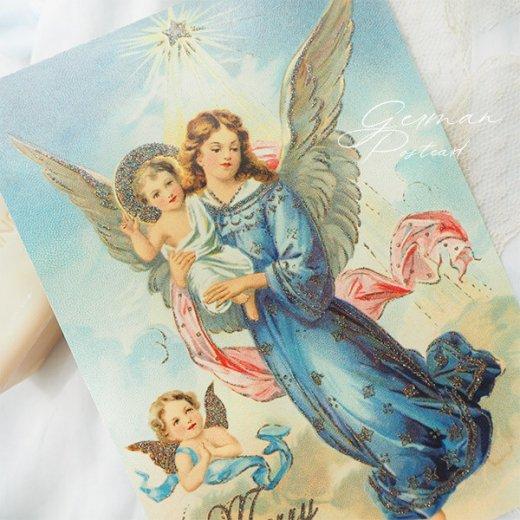 ドイツ【ラメ付き】クリスマス ポストカード  (天使 Merry Christmas)【画像2】