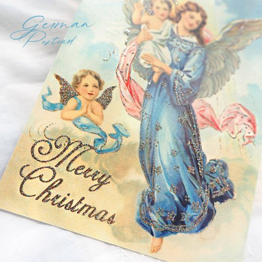 ドイツ【ラメ付き】クリスマス ポストカード  (天使 Merry Christmas)【画像3】