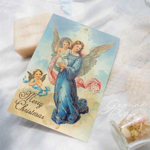 ドイツ【ラメ付き】クリスマス ポストカード  (天使 Merry Christmas)【画像5】