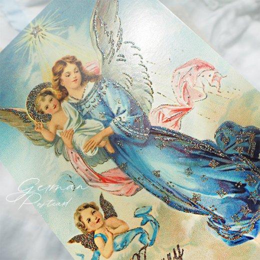 ドイツ【ラメ付き】クリスマス ポストカード  (天使 Merry Christmas)【画像6】