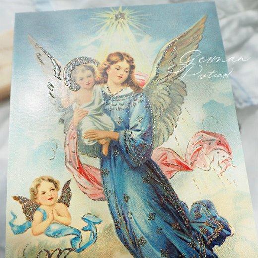 ドイツ【ラメ付き】クリスマス ポストカード  (天使 Merry Christmas)【画像7】