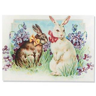 ドイツ直輸入! 【大判】イースター 復活祭 ポストカード エンボス加工 復刻 (うさぎ すみれ)