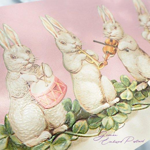 ドイツ直輸入! 【大判】イースター 復活祭 ポストカード エンボス加工 復刻 (うさぎ 楽器)【画像8】