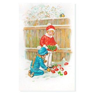 フランス クリスマスポストカード (幸福のキノコと四つ葉のクローバー)