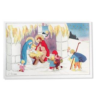 フランス クリスマスポストカード (キリストの降誕 J.Gouppy 1935 )