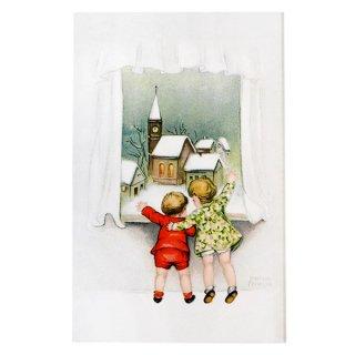 フランス ポストカード  フランス クリスマスポストカード (クリスマス 窓の景色 hannes petersen)