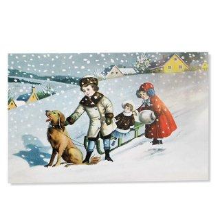 フランス クリスマスポストカード (クリスマスの夜 犬とソリ )